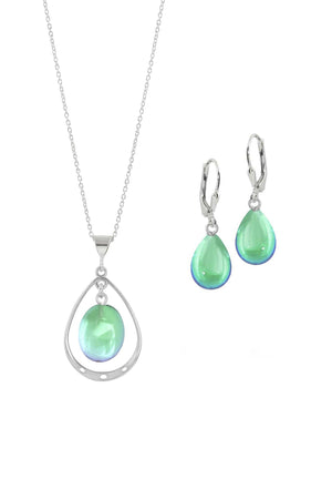 Sterling Silver-Oval with Loop Pendant & Drop Earrings-Green-Polished-Leightworks