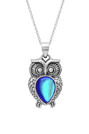Sterling Silver-Owl Pendant-Necklace Charm-Blue-Frosted-Leightworks