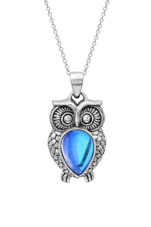Sterling Silver-Owl Pendant-Necklace Charm-Blue-Polished-Leightworks
