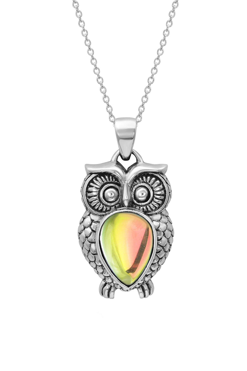 Sterling Silver-Owl Pendant-Necklace Charm-Fire-Polished-Leightworks