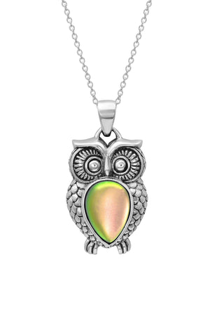 Sterling Silver-Owl Pendant-Necklace Charm-Fire-Frosted-Leightworks