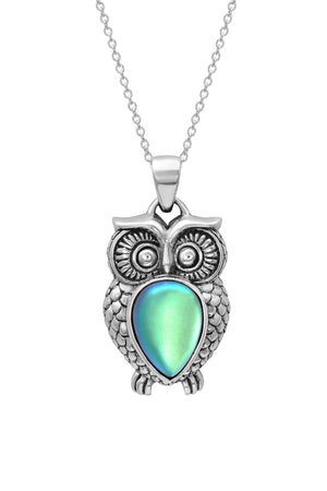 Sterling Silver-Owl Pendant-Necklace Charm-Green-Frosted-Leightworks