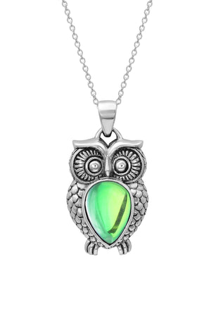 Sterling Silver-Owl Pendant-Necklace Charm-Green-Polished-Leightworks