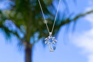 Sterling Silver-Palm Tree Pendant-Necklace Charm-Leightworks