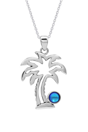 Sterling Silver-Palm Tree Pendant-Necklace Charm-Polished-Blue-Leightworks