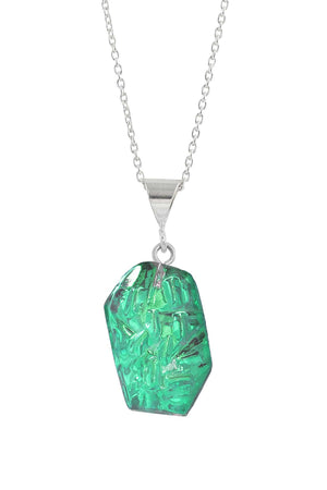 Sterling Silver-Rocky Pendant-Necklace Charm-Green-Polished-Leightworks