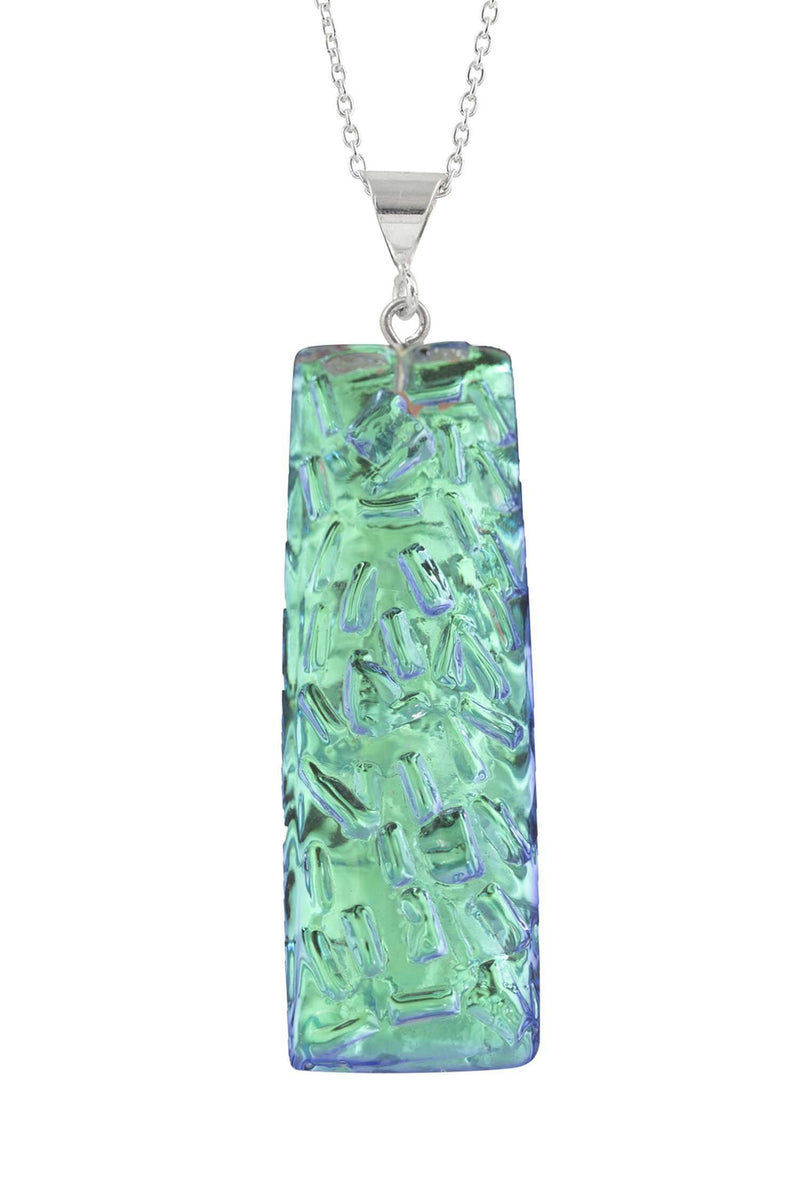 Sterling Silver-Rocky Rectangle Pendant-Necklace Charm-Green-Polished-Leightworks