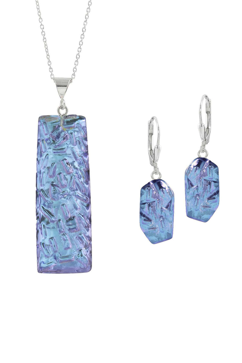 Sterling Silver-Rocky Rectangle pendant & Rocky earrings set-pink-polished-Leightworks