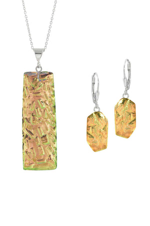 Sterling Silver-Rocky Rectangle pendant & Rocky earrings set-fire-polished-Leightworks