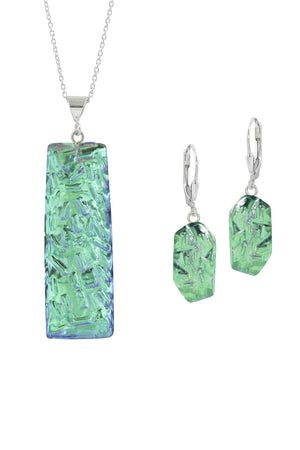 Sterling Silver-Rocky Rectangle pendant & Rocky earrings set-green-polished-Leightworks