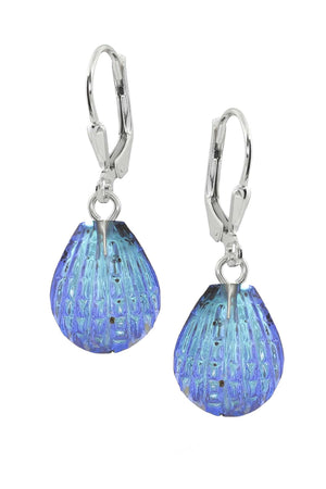 Sterling Silver-Scallop Earrings-Blue-Polished-Leightworks