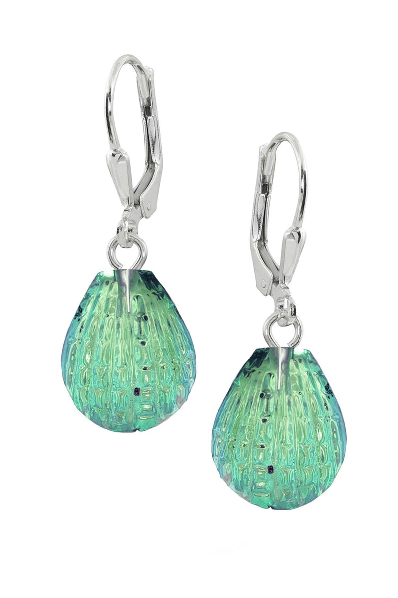 Sterling Silver-Scallop Earrings-Green-Polished-Leightworks