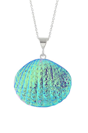 Sterling Silver-Scallop Pendant-Necklace Charm-Green-Polished-Leightworks