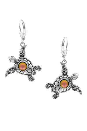 Sterling Silver-Sea Turtle Earrings-Frosted-Fire-Leightworks