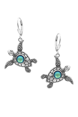 Sterling Silver-Sea Turtle Earrings-Frosted-Green-Leightworks