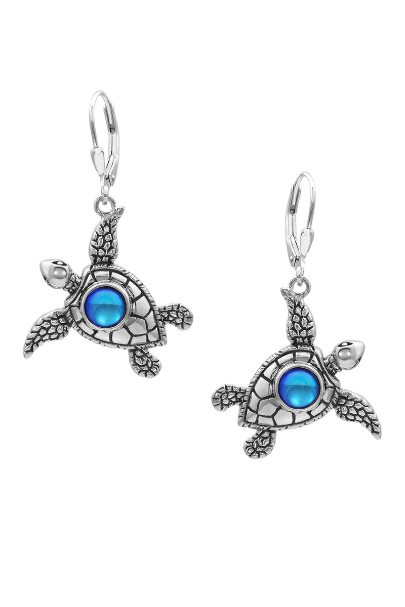 Sterling Silver-Sea Turtle Earrings-Frosted-Blue-Leightworks