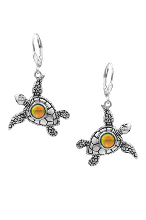 Sterling Silver-Sea Turtle Earrings-Polished-Fire-Leightworks