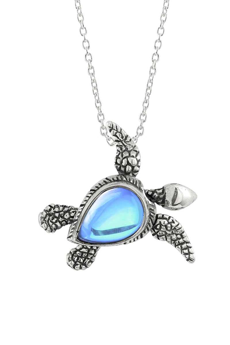 Sterling Silver-Sea Turtle SW Pendant-Necklace Charm-Aqua-Frosted-Leightworks