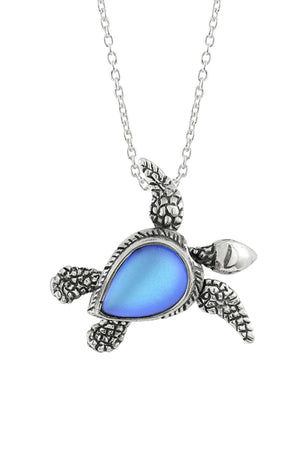 Sterling Silver-Sea Turtle SW Pendant-Necklace Charm-Blue-Frosted-Leightworks