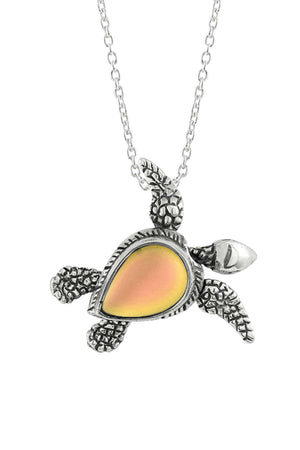 Sterling Silver-Sea Turtle SW Pendant-Necklace Charm-Fire-Frosted-Leightworks