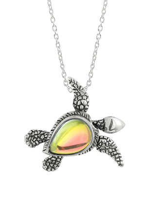 Sterling Silver-Sea Turtle SW Pendant-Necklace Charm-Fire-Polished-Leightworks