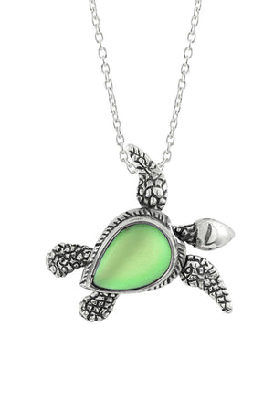 Sterling Silver-Sea Turtle SW Pendant-Necklace Charm-Green-Frosted-Leightworks