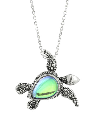 Sterling Silver-Sea Turtle SW Pendant-Necklace Charm-Green-Polished-Leightworks