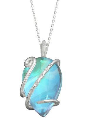 Sterling Silver-Single Wrap Pendant-Necklace Charm-Aqua-Polished-Leightworks