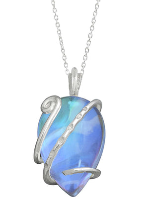Sterling Silver-Single Wrap Pendant-Necklace Charm-Blue-Polished-Leightworks