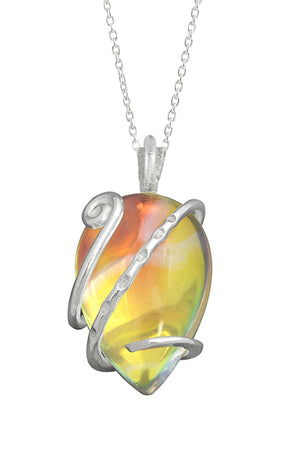 Sterling Silver-Single Wrap Pendant-Necklace Charm-Fire-Polished-Leightworks