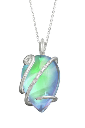 Sterling Silver-Single Wrap Pendant-Necklace Charm-Green-Polished-Leightworks