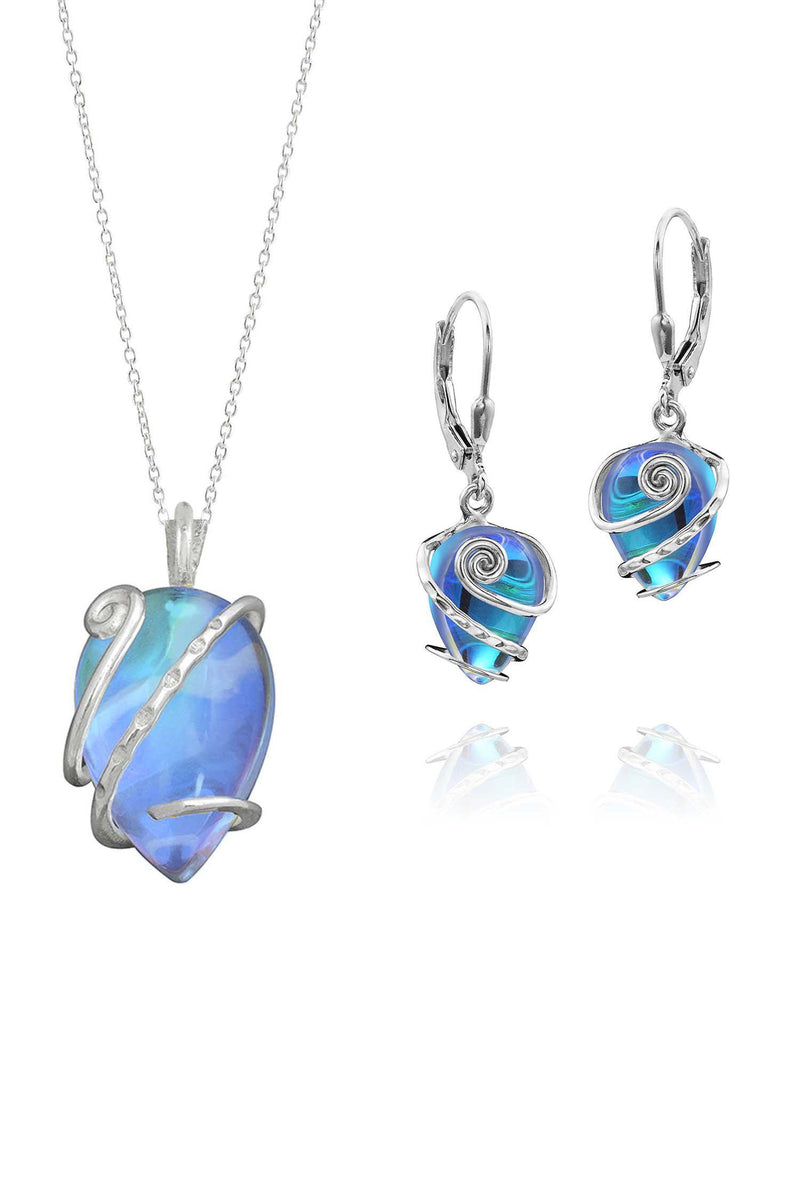 Sterling Silver-Single Wrap set-blue-polished-Leightworks