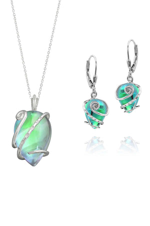 Sterling Silver-Single Wrap set-green-polished-Leightworks