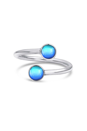 Handmade Sterling Silver-Small Double Ring-blue-polished-Leightworks