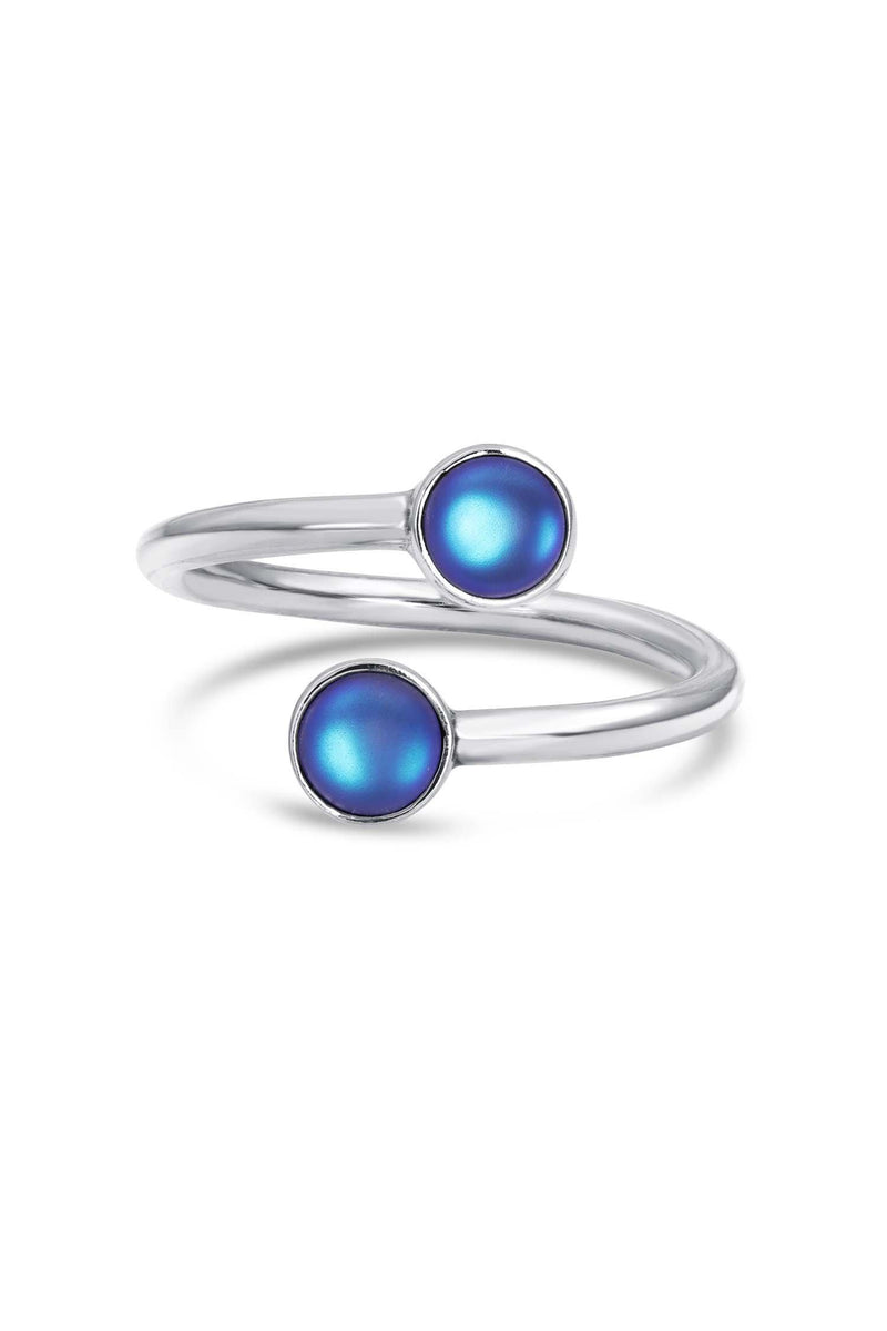 Handmade Sterling Silver-Small Double Ring-blue-frosted-Leightworks