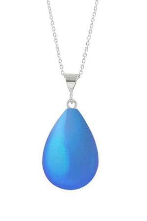 Sterling Silver-Small Drop Pendant-Necklace Charm-Blue-Frosted-Leightworks