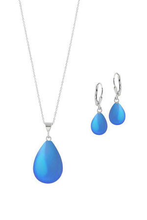 Sterling Silver-Small Drop Pendant & Drop Earrings Set-Blue-Frosted-Leightworks