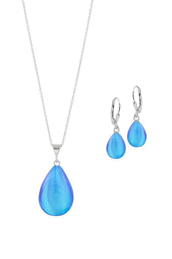 Sterling Silver-Small Drop Pendant & Drop Earrings Set-Blue-Polished-Leightworks