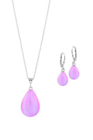 Sterling Silver-Small Drop Pendant & Drop Earrings Set-Leightworks