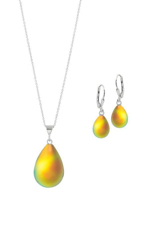 Sterling Silver-Small Drop Pendant & Drop Earrings Set-Fire-Frosted-Leightworks