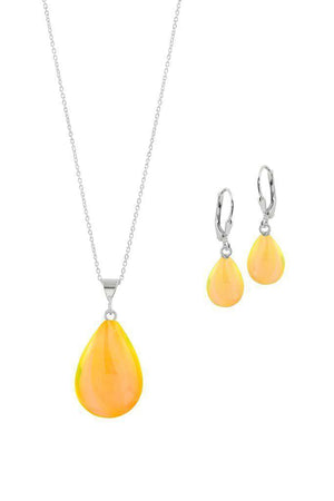 Sterling Silver-Small Drop Pendant & Drop Earrings Set-Fire-Polished-Leightworks