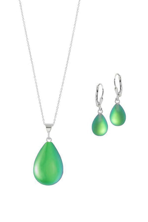 Sterling Silver-Small Drop Pendant & Drop Earrings Set-Green-Frosted-Leightworks