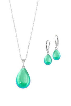 Sterling Silver-Small Drop Pendant & Drop Earrings Set-Green-Polished-Leightworks