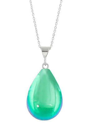 Sterling Silver-Small Drop Pendant-Necklace Charm-Green-Polished-Leightworks