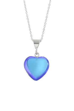 Sterling Silver-Small Heart Pendant-Necklace Charm-Blue-Polished-Leightworks