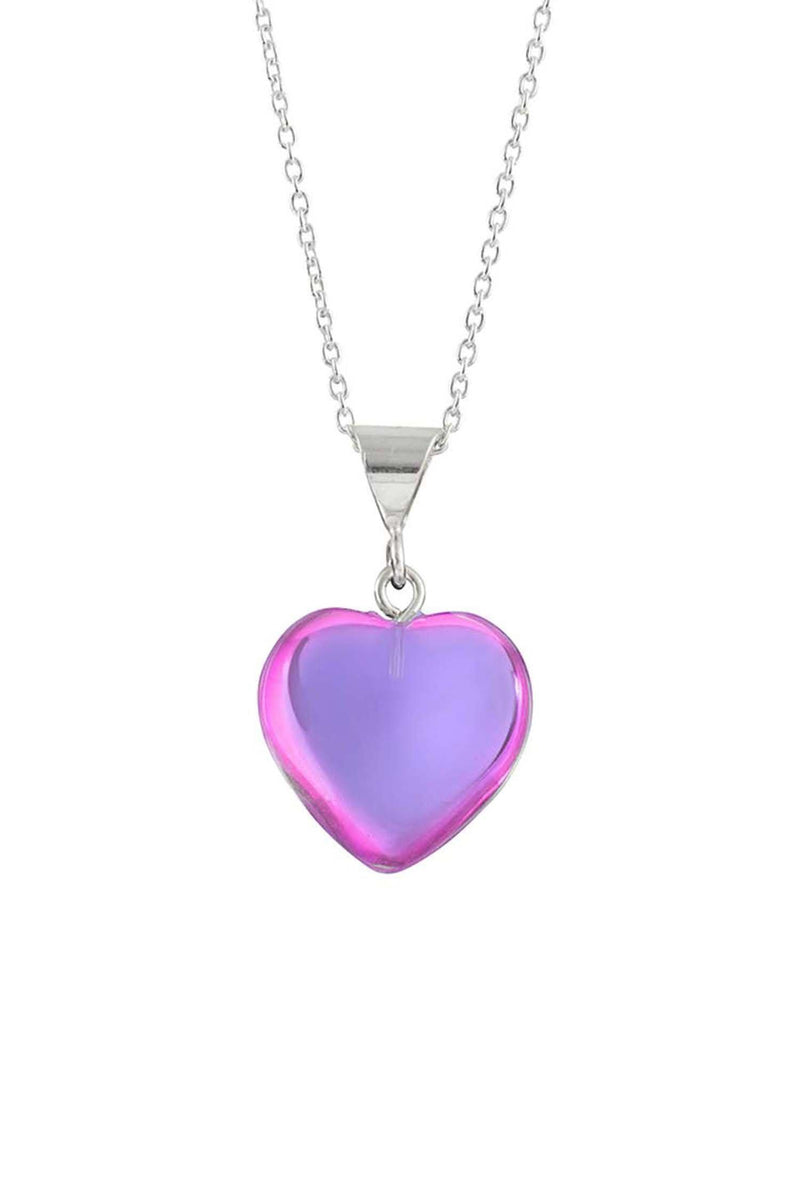 Sterling Silver-Small Heart Pendant-Necklace Charm-Pink-Polished-Leightworks