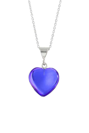 Sterling Silver-Small Heart Pendant-Necklace Charm-Violet-Polished-Leightworks