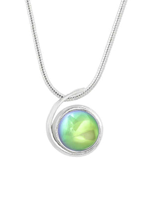 Sterling Silver-Small Wave Pendant-Necklace Charm-Green-Polished-Leightworks