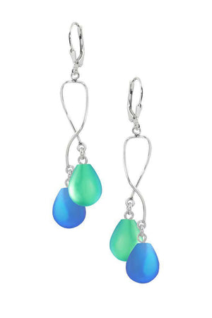 Sterling Silver-Spiral Earrings-Blue/Green-Frosted-Leightworks