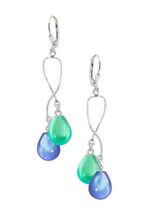 Sterling Silver-Spiral Earrings-Blue/Green-Polished-Leightworks